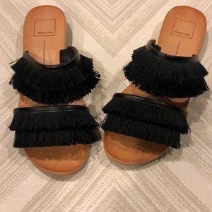 Dolce Vita Black Fringe Double Strap Sandals